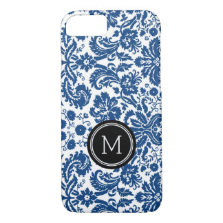 Custom Monogram Black Blue Damask iPhone 8/7 Case