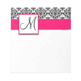 Custom Monogram Black Damask Hot Pink Notepad