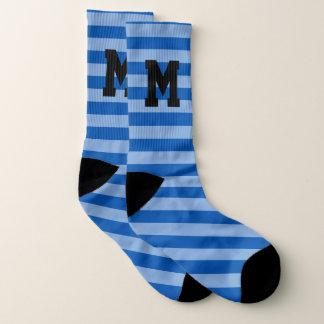 Custom monogram blue bold stripe pattern socks 1