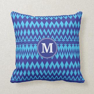 Custom Monogram Bold Blue Tribal Chevron Pattern Throw Pillow