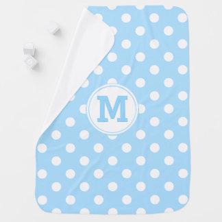 Custom Monogram Boys Baby Blue Polka Dots Pattern Baby Blanket