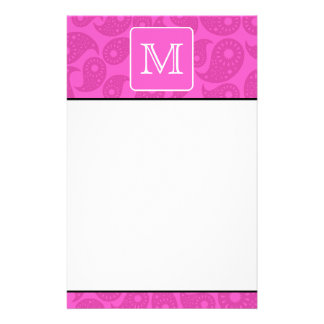 Custom Monogram. Bright Pink Paisley Pattern. Personalized Stationery