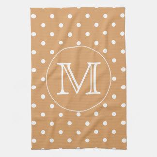 Custom Monogram. Brown Polka Dot Pattern. Kitchen Towel