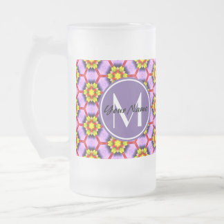Custom Monogram Chic Purple Pink Floral Pattern 16 Oz Frosted Glass Beer Mug