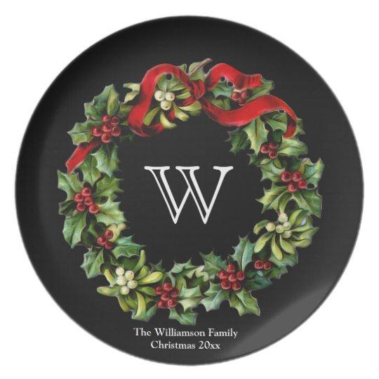 Custom Monogram Christmas Holiday Wreath Plate