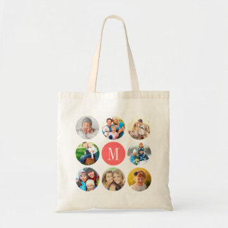 Custom Monogram Circle Frame Photo Collage Tote Bag