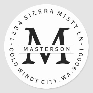 Custom Monogram Circular Return Address Label