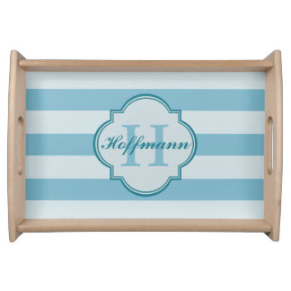 Custom Monogram Coastal Style Serving Tray Blue