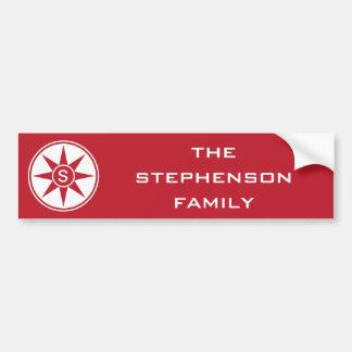 Custom Monogram & Color bumpersticker Bumper Sticker