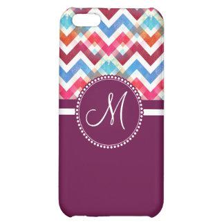 Custom Monogram Colorful Chevron Stripes Zig Zags Case For iPhone 5C