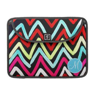 Custom Monogram Colorful Chevron Tribal Zigzags Sleeve For MacBook Pro