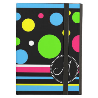 Custom Monogram Colorful Neon Stripes Polka Dots Cover For iPad Air