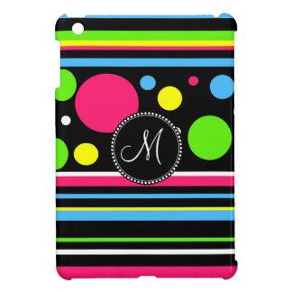 Custom Monogram Colorful Neon Stripes Polka Dots iPad Mini Cover