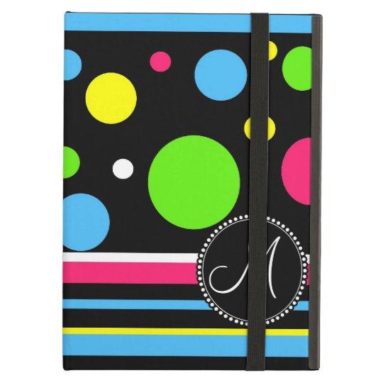 Custom Monogram Colourful Neon Stripes Polka Dots Cover For iPad Air