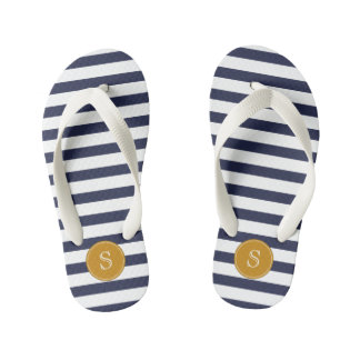 Custom Monogram Cool Navy Blue Stripes Kid's Flip Flops