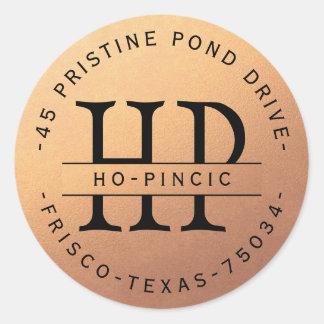 Custom Monogram Copper Circular Address Label