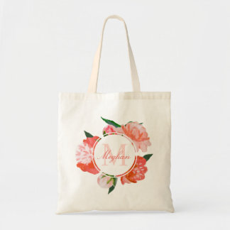 Custom Monogram | Coral Watercolor Flowers Tote Bag