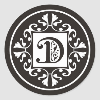 Custom Monogram D Stickers In Black and White