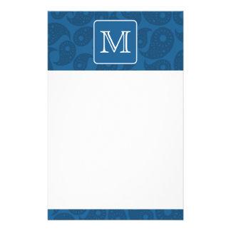 Custom Monogram. Dark Blue Paisley Pattern. Stationery Design