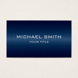Custom Monogram Dark Blue Stainless Steel Metal Business Card