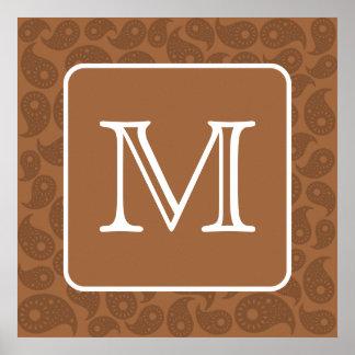 Custom Monogram. Dark Brown Paisley Pattern. Poster