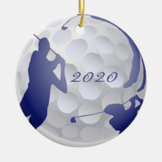 Custom Monogram Dated Golf Sport Hobby Round Ceramic Ornament