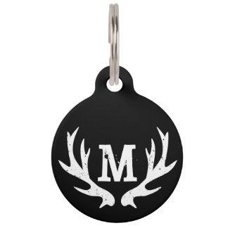 Custom monogram deer antler logo collar pet tag