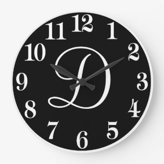 Custom Monogram Design in Black and White Large Clock