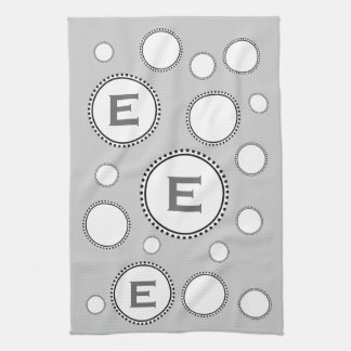 Custom Monogram E or Any Initial SILVER Circles Kitchen Towel
