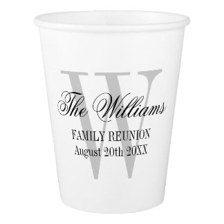 Custom monogram family reunion party paper cups