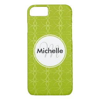Custom Monogram Fancy Lime Green Vintage Pattern iPhone 7 Case