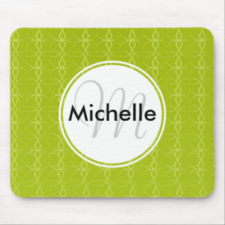 Custom Monogram Fancy Lime Green Vintage Pattern Mouse Pad