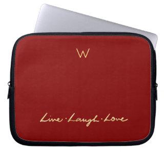 Custom Monogram Faux Gold Script Live Laugh Love Laptop Sleeve