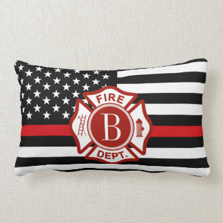 Custom Monogram Fire Rescue Maltese Cross Symbol Lumbar Pillow