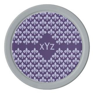 Custom Monogram Fleur-De-Lis poker chips