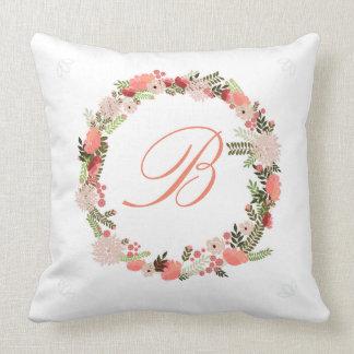 Custom Monogram Floral Ring Pillow