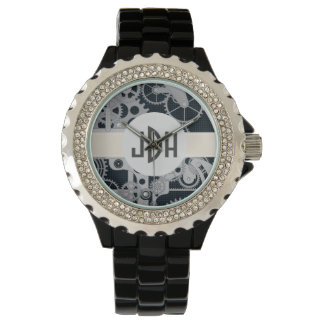 Custom Monogram Geared Up Black Enamel Watch
