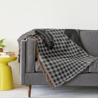 Custom Monogram Gingham Black Gray Throw Blanket