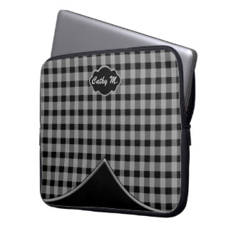 Custom Monogram Gingham Black Grey Laptop Sleeve