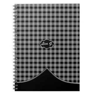 Custom Monogram Gingham Black Grey Spiral Notebook