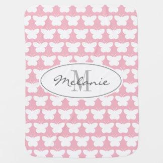 Custom monogram girly pink butterfly baby blanket