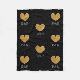 Custom monogram gold glitter heart fleece blanket