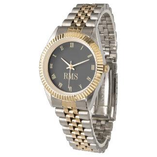 Custom Monogram Gold Silver Tone Bracelet Watch