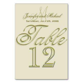 Custom Monogram Gold Table Card