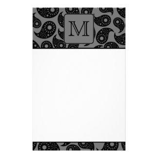 Custom Monogram. Gray and Black Paisley Pattern. Stationery Paper
