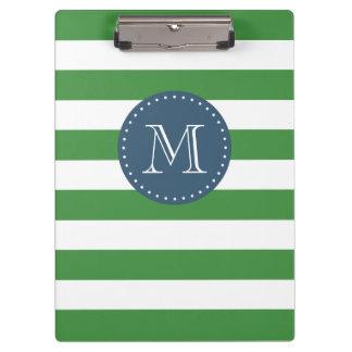 Custom Monogram Green and Navy Blue Bold Stripes Clipboard