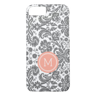 Custom Monogram Grey Coral Damask iPhone 8/7 Case