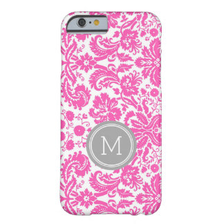 Custom Monogram Grey Pink Damask Barely There iPhone 6 Case