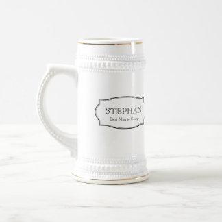 Custom monogram groomsmen elegant beer stein 18 oz beer stein