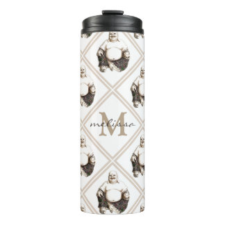 Custom Monogram Happy Buddha Diamond Pattern Thermal Tumbler